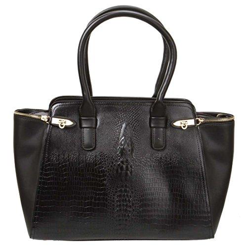 BMC Womens PU Leather Faux Crocodile Skin Texture Top Handle Office Tote Handbag