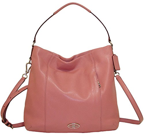 Coach Soft Pebbled Leather Hobo Shoulder Bag with Removable Cross-body Belt in Shadow Rose