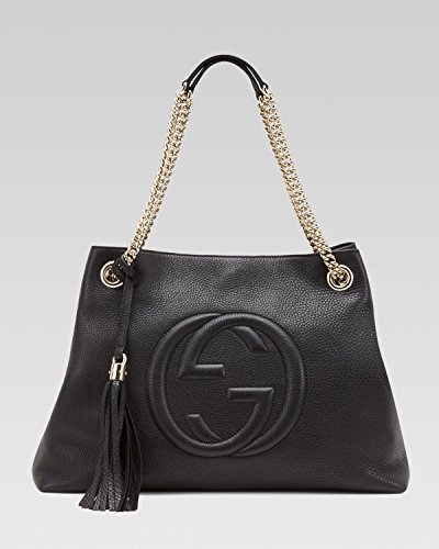 Gucci Soho Pony Medium Chain Tote Black Haircalf New