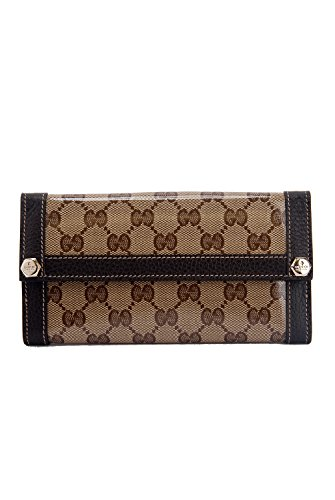 Gucci Monogram Large Continental Crystal & Leather Trim Clutch Wallet