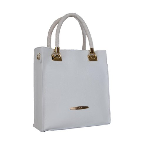 Pierre Cardin PC 1324 BIANCO Made in Italy Leather White Zip Structured Tote