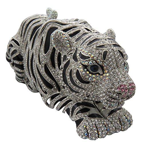 Rhodium Plated Tiger Clutch With Swarovski Crystal Necklace