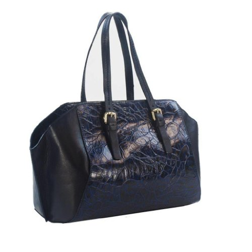 HS 5179 BLU ORIA Made in Italy Leather Navy Croc Embossed Shoulder/Crossbody Bag