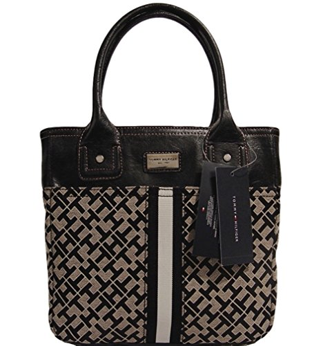 Tommy Hilfiger Small Tote Bag Handbag Purse (Black / Beige)