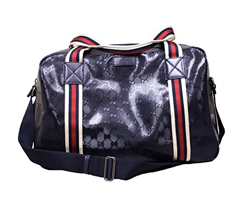 Gucci 374769 Gucci GG Logo Navy Blue Imprime Duffle Bag Carry-On Travel