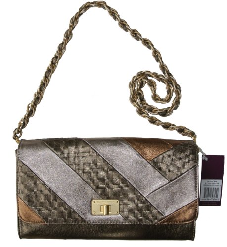 Elliott Lucca Cordoba Large Clutch Handbag Piece Pewter Genuine Leather