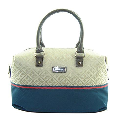 Tommy Hilfiger Bowler Satchel Handbag Navy Blue Khaki