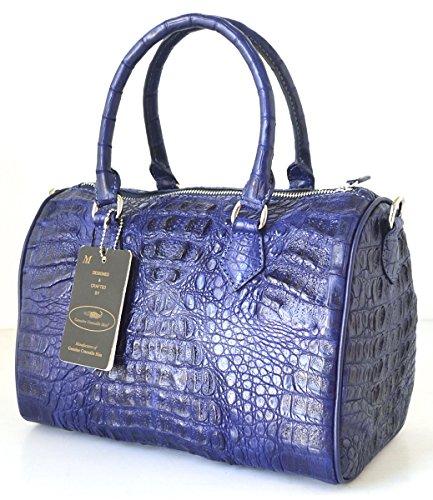 +ThaiPremiumHouse+100% DOUBLE HORNBACKs GENUINE CROCODILE LEATHER HANDBAG CLUTCH BAG PURSE DARK BLUE NEW W/Strap
