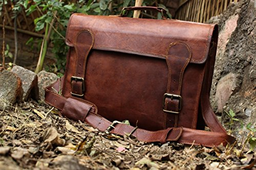 HLC Goat Leather Messenger Breifcase Laptop Satchel Bag