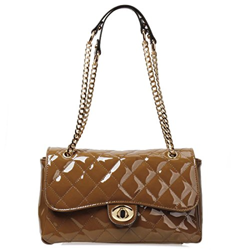 BMC Womens PU Leather Quilted Pattern Envelope Flap Top Handle Shoulder Handbag
