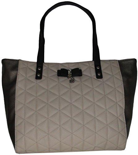 "Jessica Simpson Women's Large ""Hailey"" Tote Handbag, Cream, Pewter, Black"