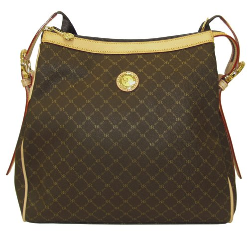 Signature Brown Top Zip Messenger Bag by Rioni Designer Handbags & Luggage