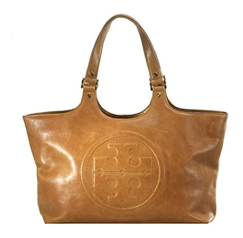 Tory Burch Bombe Burch Leather Tote LOGO TB Tan Bag Purse Handbag Pocketbook