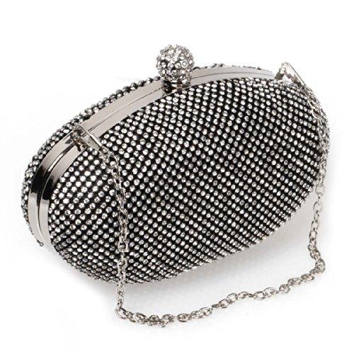 BMC Clear Rhinestone Armor Mesh Chainmail Covered Oval Shaped Fashion Clutch