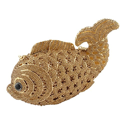 Yahoho Women's Fish Evening Bag Handbag Party Clutch Brown with Austrian Crystal