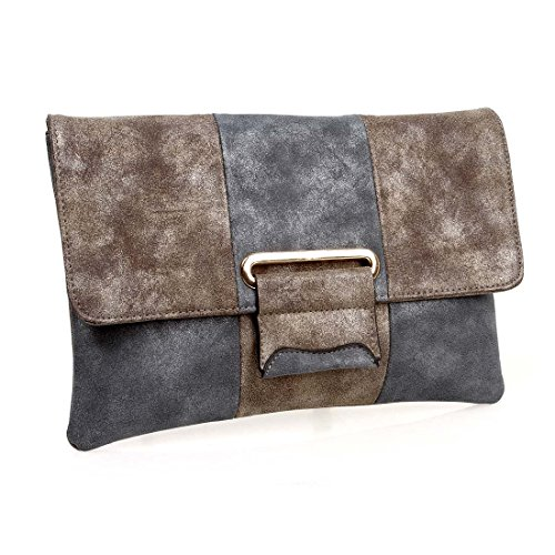 BMC Fashionable Faux Suede Dual Colored Metal Accent Envelope Style Clutch