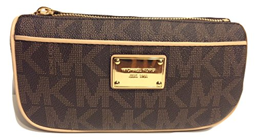 Michael Kors Jet Set Travel Pouch MK Signature PVC Brown