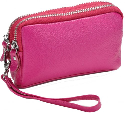 Heshe Fashion Genuine Leather Double Zippered Purse Clutch Handbags for Samsung Galaxy Note /Iphone 4,5