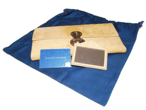 Ralph Lauren Collection Womens Suede Leather Clutch Purse Wallet Italy Tan Beige