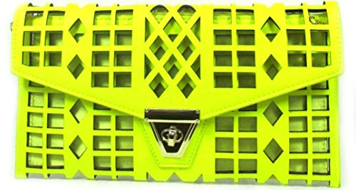 Laser Cut Neon Yellow Clutch