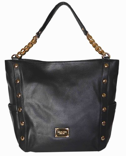Michael Kors Black Leather Delancy Large Shoulder Bag Tote Handbag Purse