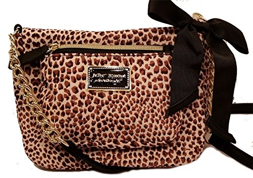 Betsey Johnson Front Zip Pocket Crossbody, Tiny Cheetah Natural BR22315
