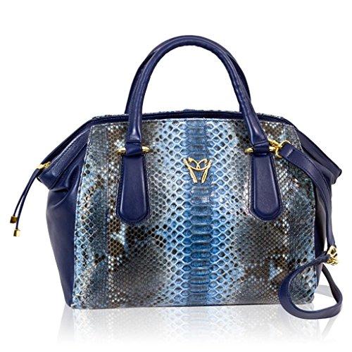 Ghibli Italian Designer Cobalt Blue Python Leather Large Satchel Crossobdy Bag