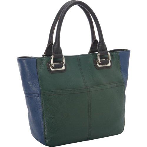 Tignanello Perfect Pockets Mini Tote Handbag (Emerald/Sailor Blue)