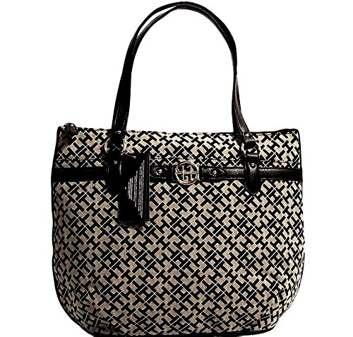Tommy Hilfiger Women's Tote Handbag, Large, Black Alpaca