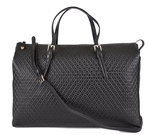 Tod's Women's Signature Leather Black Grande Shopping Zip Media Crossbody Purse