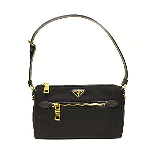 Prada BN1834 Prada Nero Tessuto Saffian Sacca Sottospalla Black Nylon and Leather Shoulder Bag