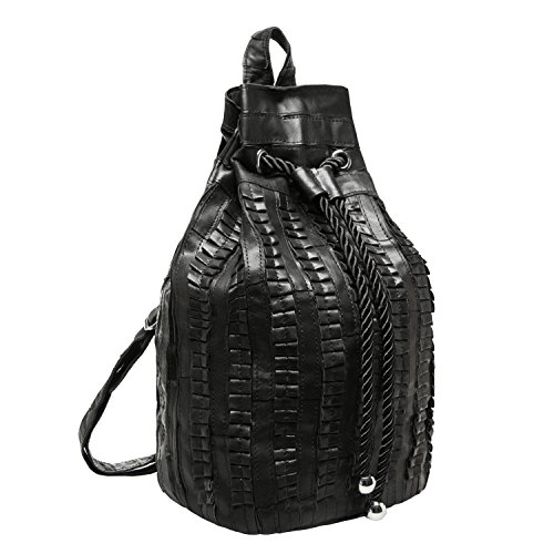 MG Collection ARATA Black Genuine Lamb Leather Backpack Style Bucket Tote Purse