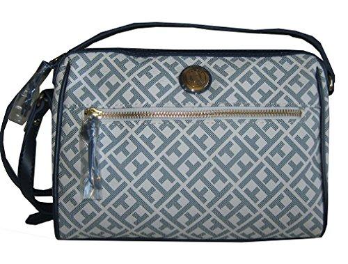 Tommy Hilfiger Faux Leather Crossbody Bag Handbag Purse Blue White