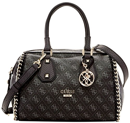 GUESS Confidential Chain Frame Satchel (Black / Gray)