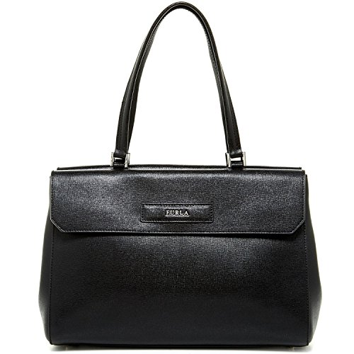 Furla Patty Saffiano Leather Medium Top Handle Satchel, Onyx