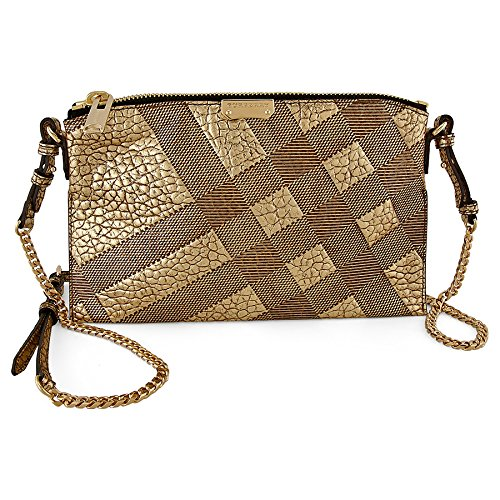 Burberry Peyton Check-Embossed Beige Leather Crossbody Bag 3958050