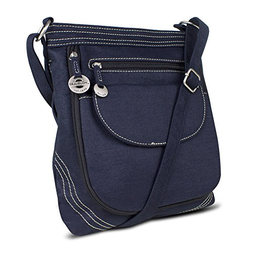 Travelon Convertible Denim Crossbody with Accent Stitching