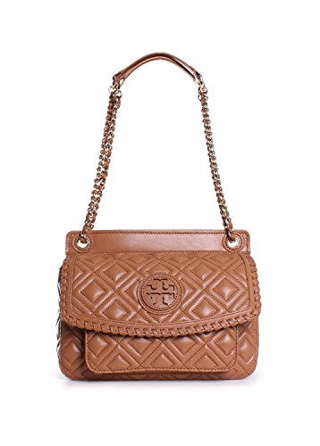 Tory Burch Marion Quilted Small Saddle Shoulder Bag in Tiger's Eye
