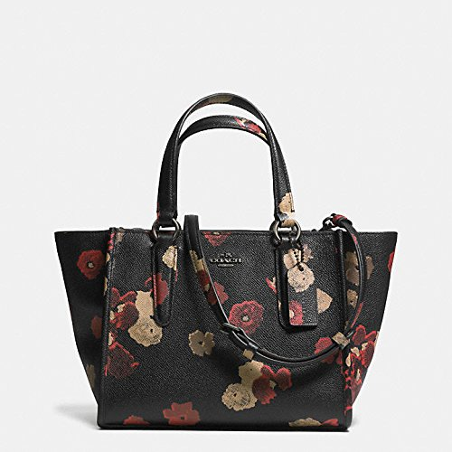Coach Mini Crosby Carryall Floral Burnished Antique Brass/black Multi Printed Leather