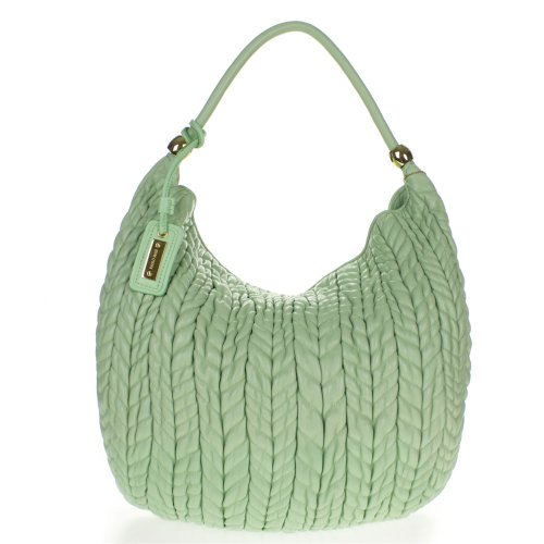 Paolo Masi Italian Made Mint Green Quilted Lamb Leather Designer Shoulder Hobo Bag