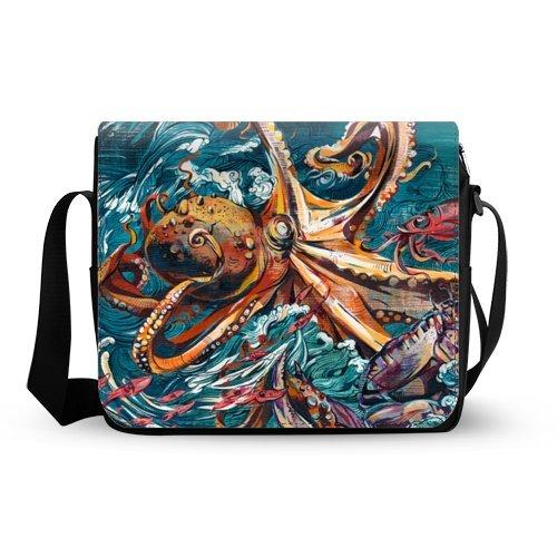 Oxford Fabric Shoulder Bag Deep Sea Animal Octopus Painting Messenger Bag