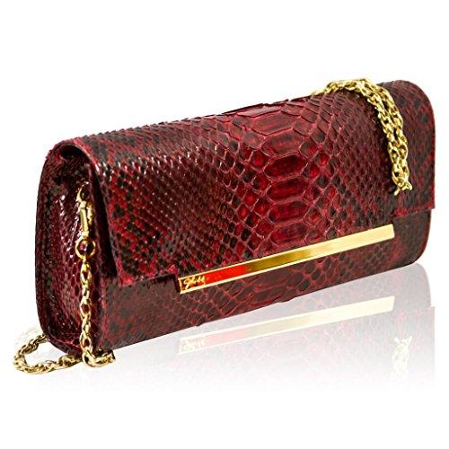 Ghibli Italian Designer Garnet Red Python Leather Gilded Envelope Clutch w/Chain