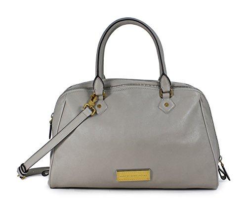Marc Jacobs Lauren Uniform Taupe Grey Leather Handbag Crossbody Purse Bag