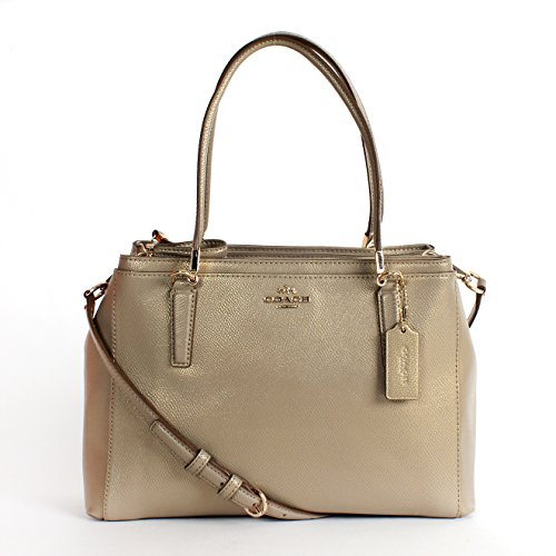 Coach F34673 Crossgrain Leather Small Christie Satchel Antique Gold