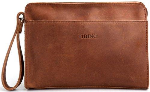 Zenness Men and Women Leather Business Clutch Handbag