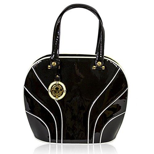 Valentino Orlandi Italian Designer Black Patent Leather Large Satchel Bag