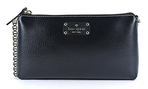 Kate Spade Wellesley Byrd Black Leather Clutch Purse Handbag