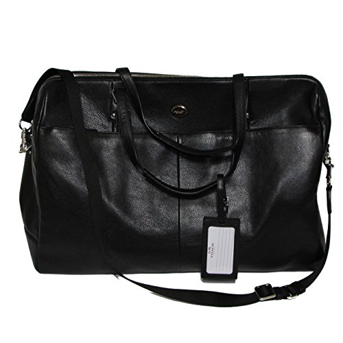 Coach Pebble Leather Large Boston Travel Tote Bag Black F77544