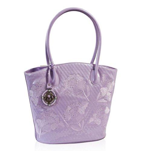Valentino Orlandi Designer Mauve Embroidered Flowers Leather Bucket Bag