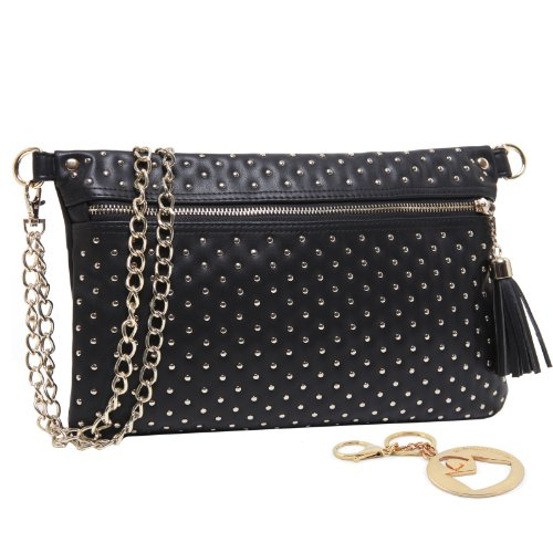 MG Collection RUTH Gold Studded Black Office Handbag / Evening Clutch Purse